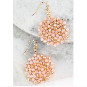 Opal Pink Faux Crystal Beaded Circle Earrings